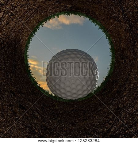 3D illustration of a golf ball going into a hole. Rendering.