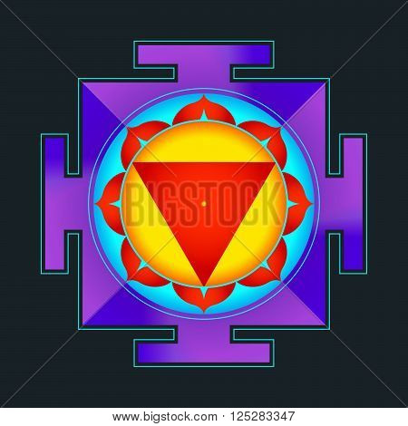 Colored Tara Yantra Illustration.