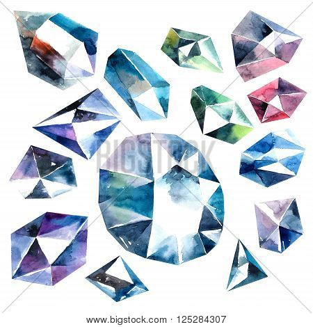 Abstract watercolor illustrations of diamond crystals. Isolated objects on white background.