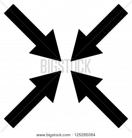 Center Arrows vector icon. Center Arrows icon symbol. Center Arrows icon image. Center Arrows icon picture. Center Arrows pictogram. Flat black center arrows icon. Isolated center arrows icon graphic.