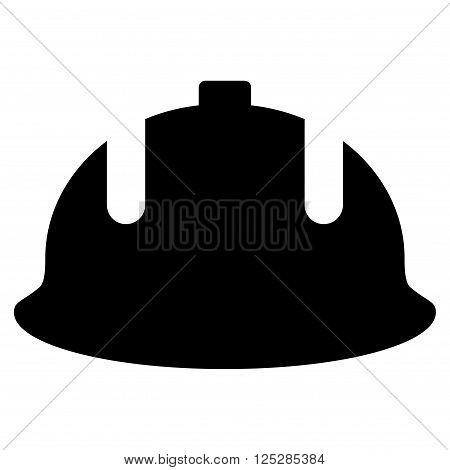 Construction Helmet vector icon. Construction Helmet icon symbol. Construction Helmet icon image. Construction Helmet icon picture. Construction Helmet pictogram. Flat black construction helmet icon.