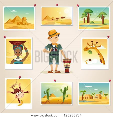 Africa Photographer Surrounded By Photos Cute flat Cartoon Style Vector Design Illustration