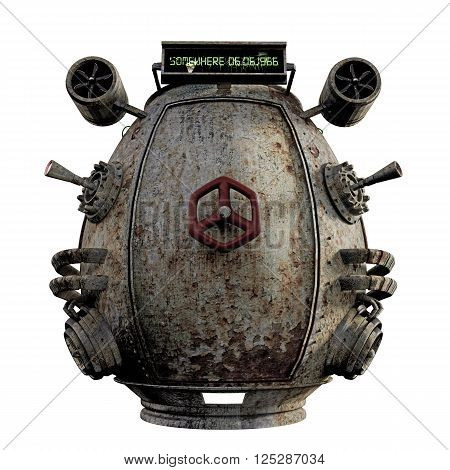 3D illustration of a rusty time capsule isolated on white background