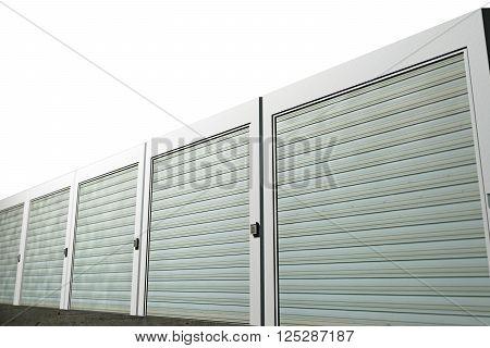 3d illustration of storage units isolated on white background