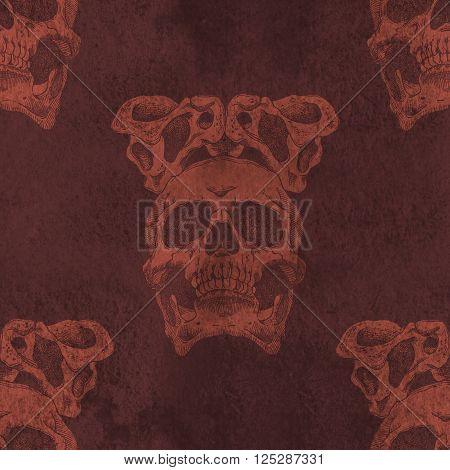 Terrible frightening seamless pattern with skull and crown of pelvic bones on a antique grunge background