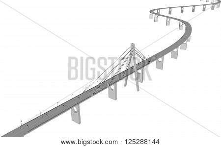 3D bridge and train, City buildings view vector illustration, buildings, , bridges on white  background. 3D arcitecture 4