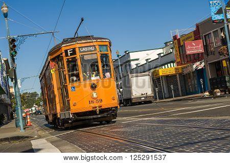 San Francisco USA - 13 Jun 2013: Historical tram operating along city streets.