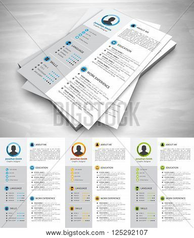 This is creative resume template. Vector illustration.