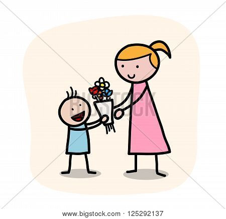 Mother's Day, a hand drawn vector illustration of a little child giving his mother a flower bouquet on Mother's Day, isolated on a simple background (editable).