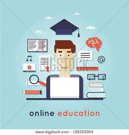 On-line Training Courses. Foreign language education online, internet lessons, language school. English. Flat design vector