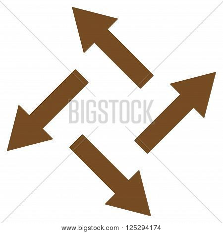 Centrifugal Arrows vector icon. Centrifugal Arrows icon symbol. Centrifugal Arrows icon image. Centrifugal Arrows icon picture. Centrifugal Arrows pictogram. Flat brown centrifugal arrows icon.