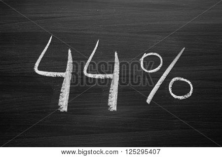 44 percent header written with a chalk on the blackboard
