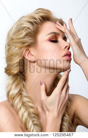 Portrait Of Young Beautiful Blonde Woman With Creative Make-up