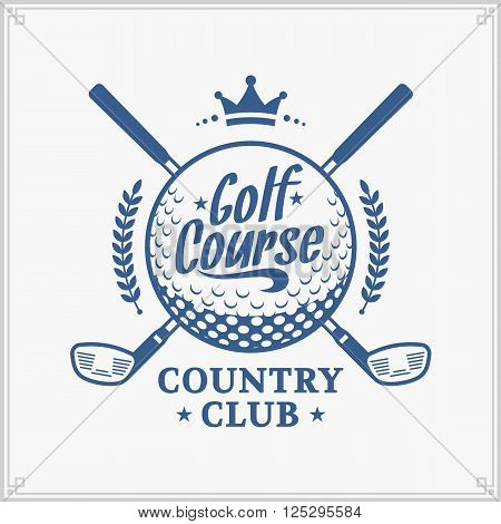 Golf club logo. Golf label with sample text. Golf icon for golf tournaments organizations and golf country clubs. poster