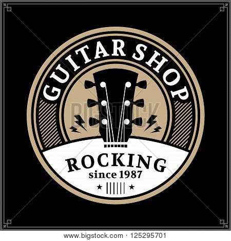 Vector guitar shop logo. Music icon for audio store branding poster or t-shirt print
