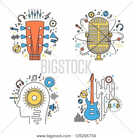 Set of vector music flat line illustrations. Vector music icons for audio store recording studio label podcast and radio station branding and identity. Creativity and inspiration music icons