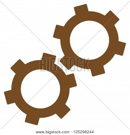 Gears vector icon. Gears icon symbol. Gears icon image. Gears icon picture. Gears pictogram. Flat brown gears icon. Isolated gears icon graphic. Gears icon illustration.