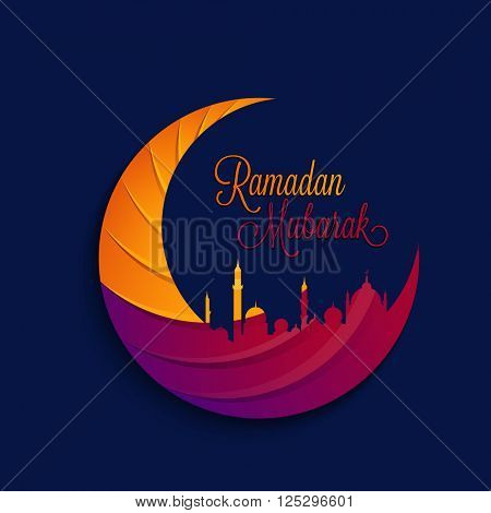 Creative colourful Crescent Moon with Mosque on blue background for Holy Month of Muslim Community, Ramadan Mubarak celebration.
