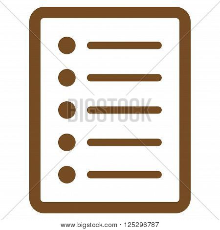 List Page vector icon. List Page icon symbol. List Page icon image. List Page icon picture. List Page pictogram. Flat brown list page icon. Isolated list page icon graphic.