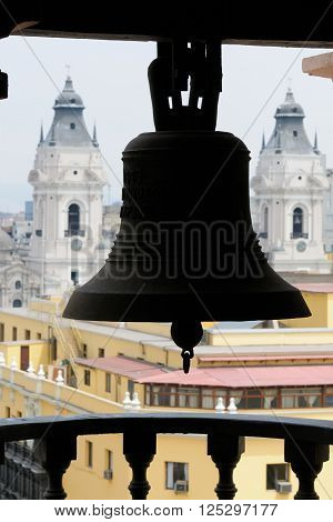 South America, Lima - capital of Peru. Cityscape - Plaza de Armas - main squer in town - architecture detail bell