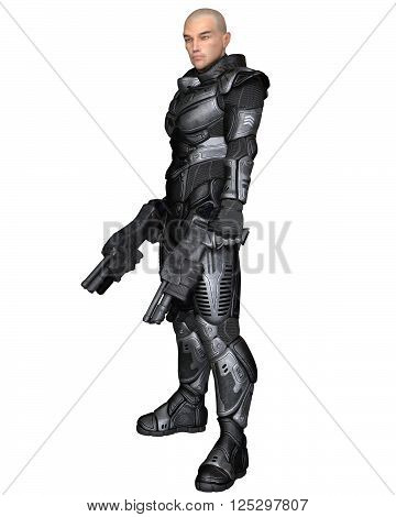 Science fiction illustration of a male future soldier in protective armoured space suit, standing holding pistols, 3d digitally rendered illustration