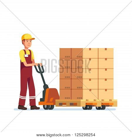 Warehouse worker man towing hand fork lifter with boxes on pallet. Modern flat style vector illustration isolated on white background.
