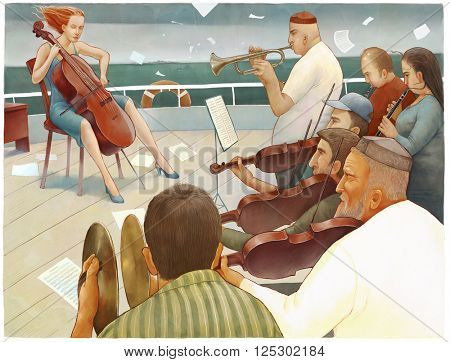 An illustration of multi-national orchestra acting on the ship deck - emigrants metaphor