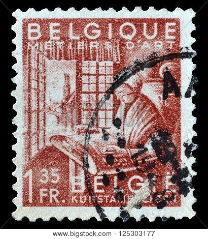 BELGIUM - CIRCA 1948 : Cancelled postage stamp printed by Belgium, that shows Industrial art.