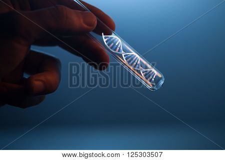DNA molecule in glass tube in hand of scientist on blue (3d render dna molecular)