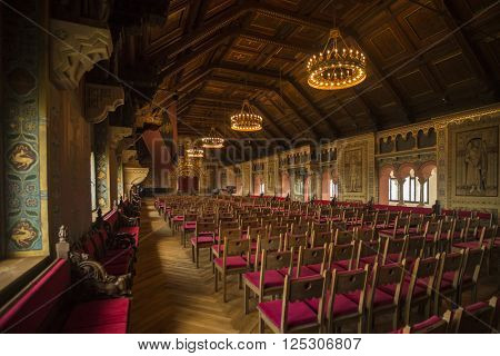 EISENACH - APRIL 14, 2014: Large Ballroom at Wartburg Castle, largest room of the castle used for events and concerts