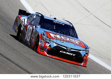 Ft. Worth, TX - Apr 07, 2016: Kyle Busch (18) brings his race car through the turns during practice for the O'Reilly Auto Parts 300 at the Texas Motor Speedway in Ft. Worth, TX.