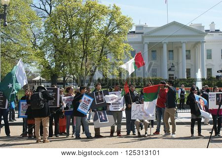 WASHINGTON, DC (WHITE HOUSE) - April 10, 2016.  Muttahida Qaumi Movement protesting outside of the White House to ask President Barack Obama to use his influence to end what it termed victimization of its workers in Karachi.
