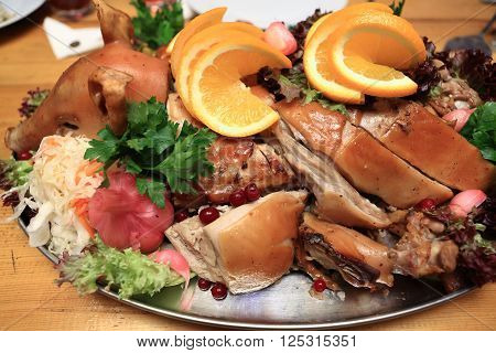 Roasted Pig With Vegetables