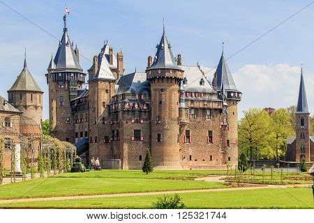 Haarzuilens, Netherlands - May 6: There is the neogothic castle de Haar in Netherlands near city Utrecht May 6, 2013 in Haarzuilens, Netherlands.