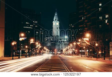Philadelphia City Hall and street view at night