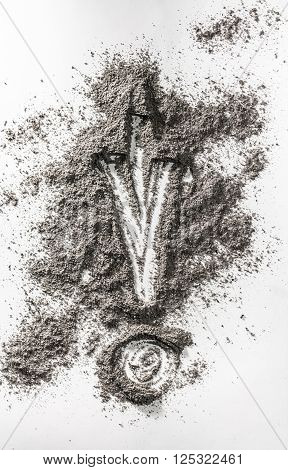 Exclamation mark drawing in grey ash dirt dust