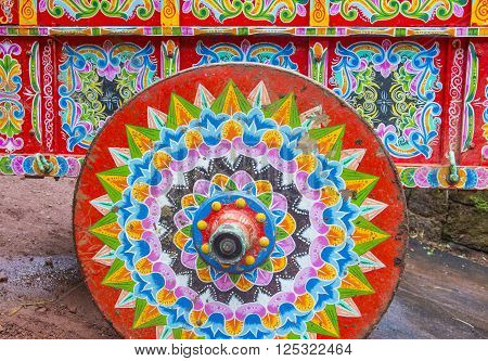 LA PAZ , COSTA RICA - MARCH 22 : Traditional decorated Costa Rican ox cart in La Paz Costa Rica on March 22 2016. This decorated carts are UNESCO Masterpiece of the Oral and Intangible Heritage of Humanity