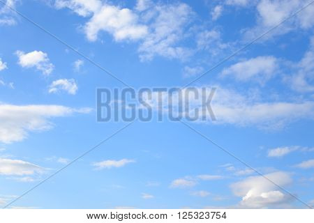 Blue sky with spindrift clouds may be used as background.