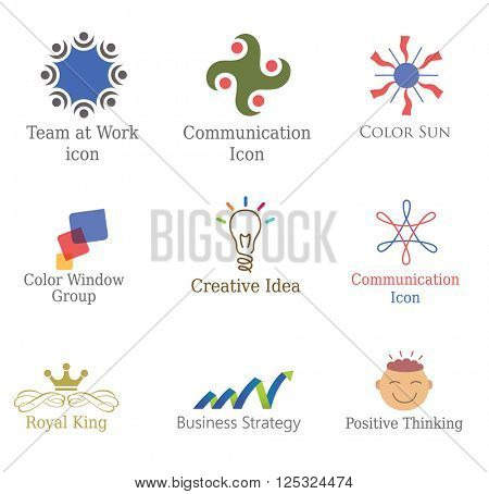 Set of Abstract  Icons, Design Elements Logos, Symbols for Business, Communication, Product.