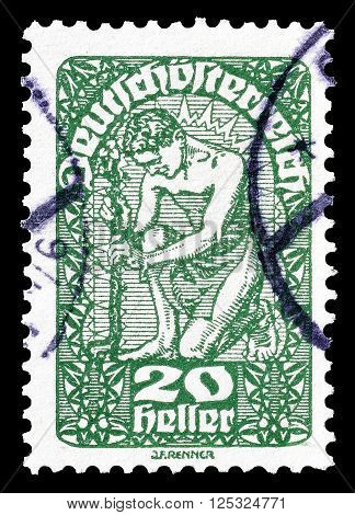 AUSTRIA - CIRCA 1919:  Cancelled postage stamp printed by Austria, that shows Allegory of New Republic.