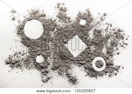 Geometry shapes composition drawing in a grey dust