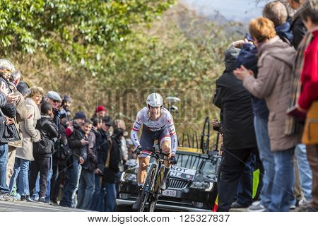 Conflans-Sainte-Honorine, France-March 6, 2016: The Italian cyclist Fabio Felline of Trek-Segafredo Team riding during the prologue stage of Paris-Nice 2016.
