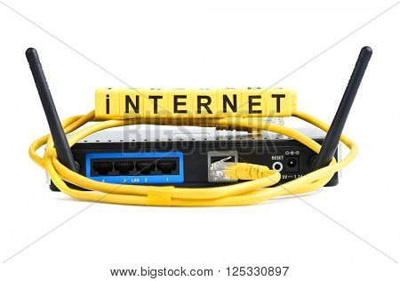 Network yellow cable and router or modem