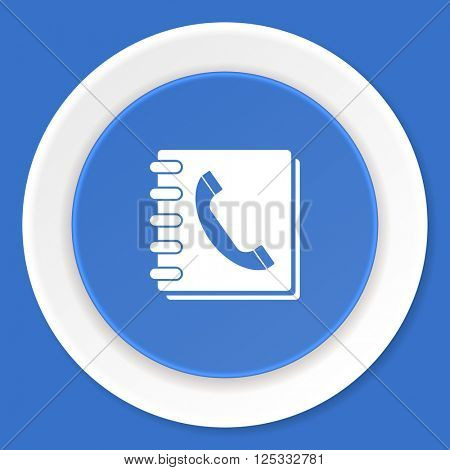 phonebook blue flat design modern web icon