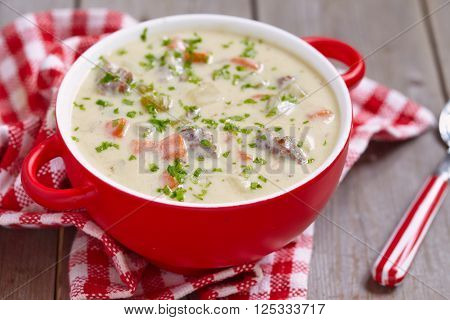 Cheeseburger Soup with ground beef and vegetable