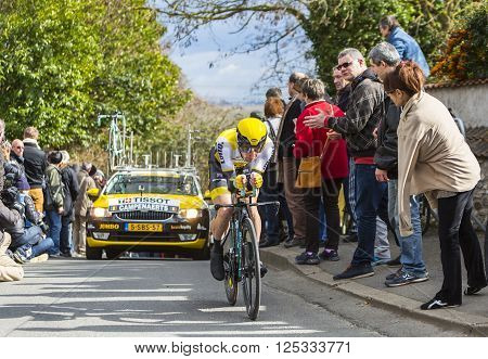 Conflans-Sainte-Honorine, France-March 6, 2016: The Belgian cyclist Victor Campenaerts of Lotto NL-Jumbo Team riding during the prologue stage of Paris-Nice 2016.