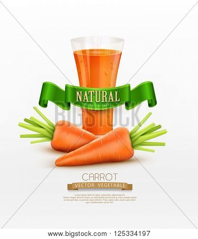 vector glass of carrot juice and two carrots isolated on white background