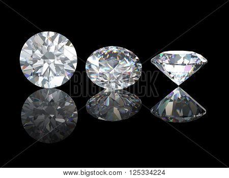 3D illustration of Diamond on black background. Jewelry accessories.