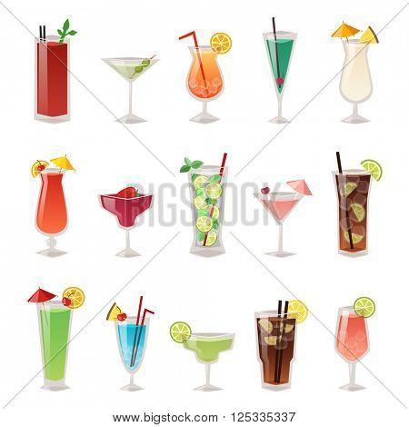 Set of different alcohol drink bottle and glasses vector illustration.