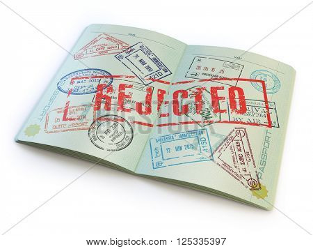 Passport with rejected visa stamp isolated on white. 3d illustration